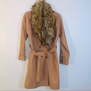 Express Wool Blend Belted Coat Solid Carmel Size S